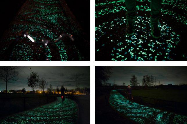 kolesarska pot, ki se sveti ponoči