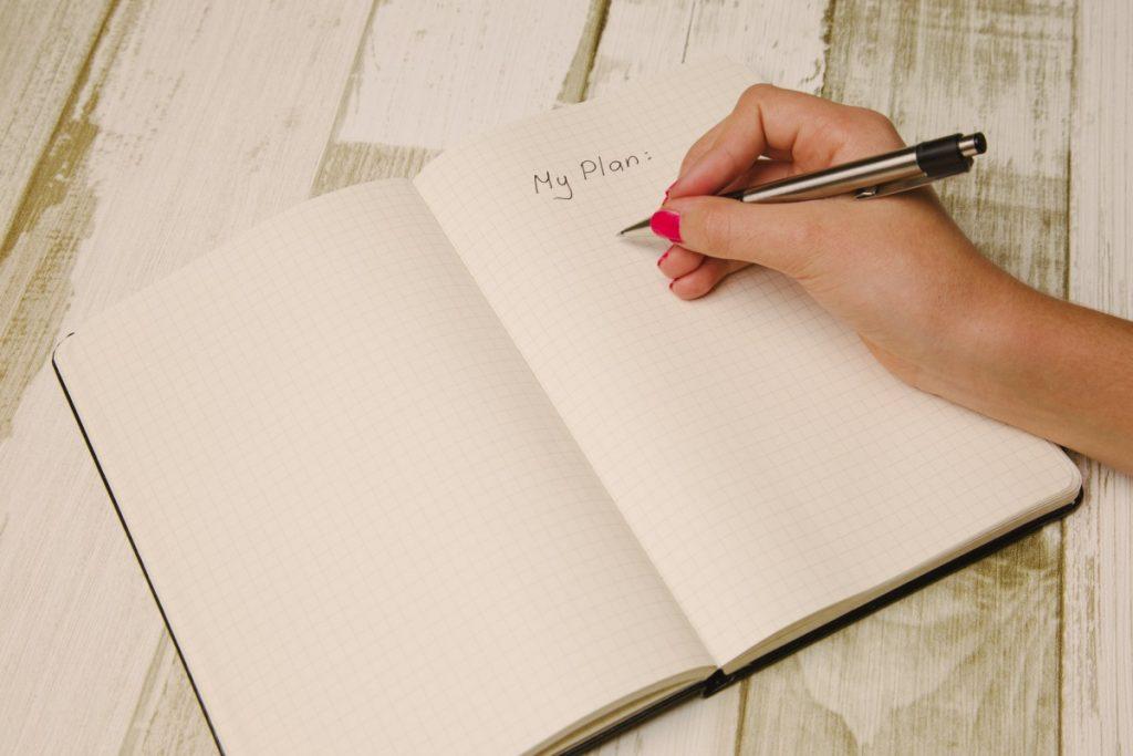 napiši si načrt treniranja